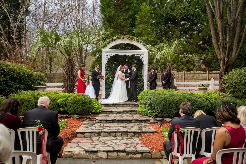 A Wedding ceremony at Winter Green Woods in Lexington, SC