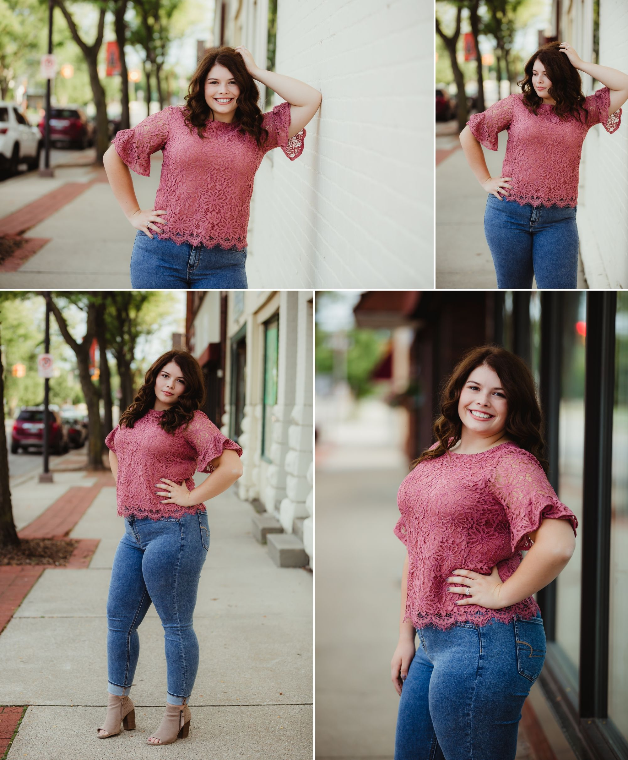 Downtown photos of a high school senior girl with brown hair wearing jeans and a pink shirt.