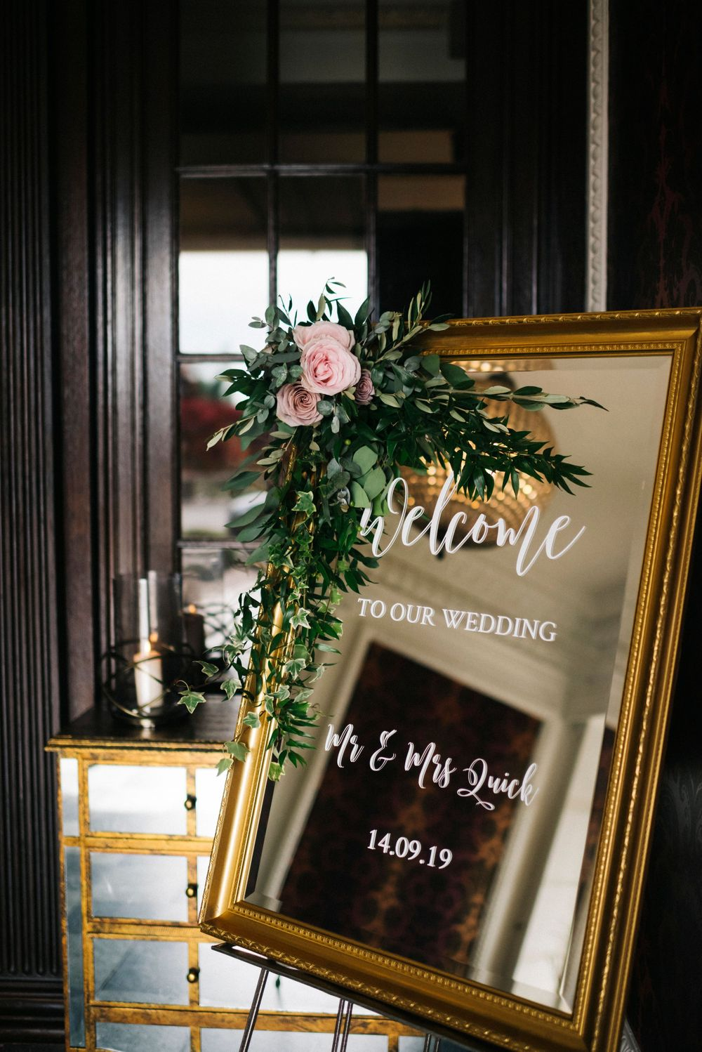 wedding flowers, welcome to our wedding sign, gold mirror wedding sign, eaves hall wedding photographer
