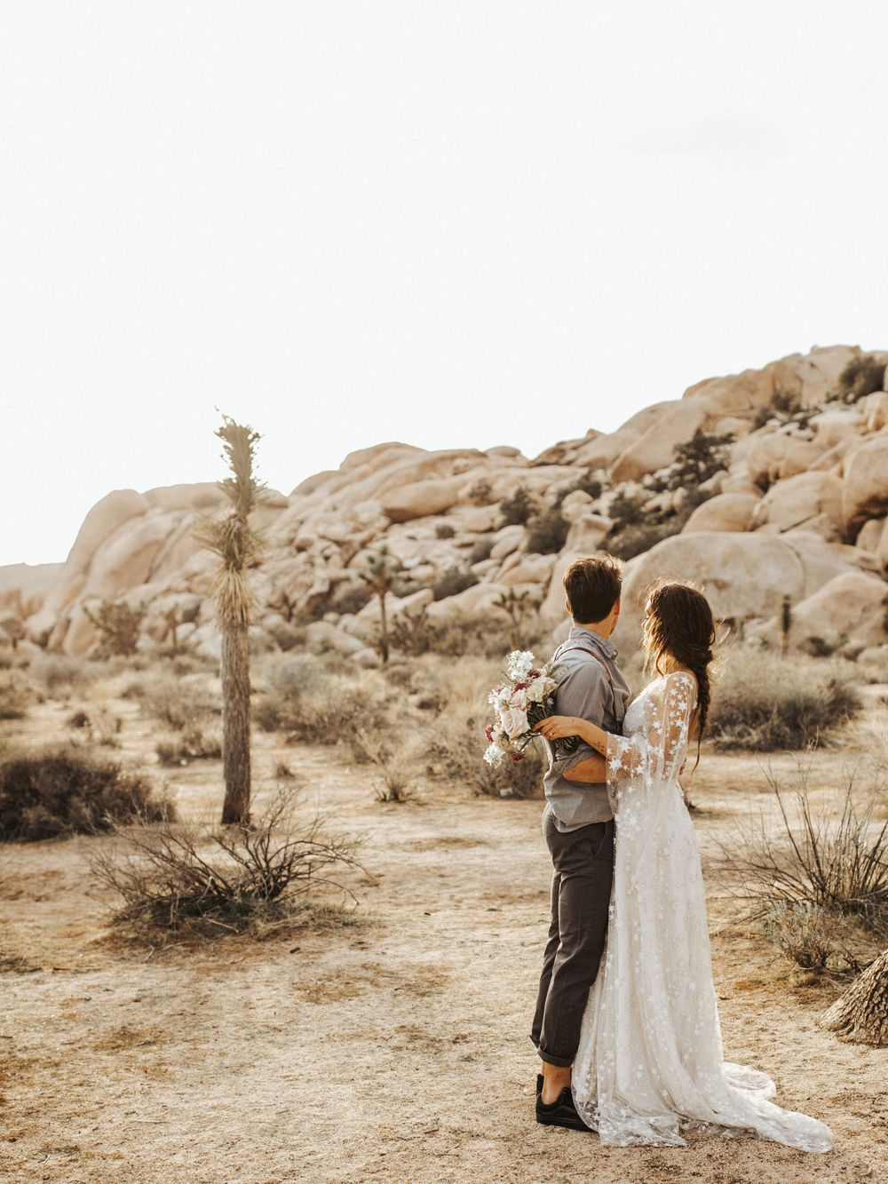 joshua tree sunset elopement bridal session desert wedding southern california wedding photographer boho elopement