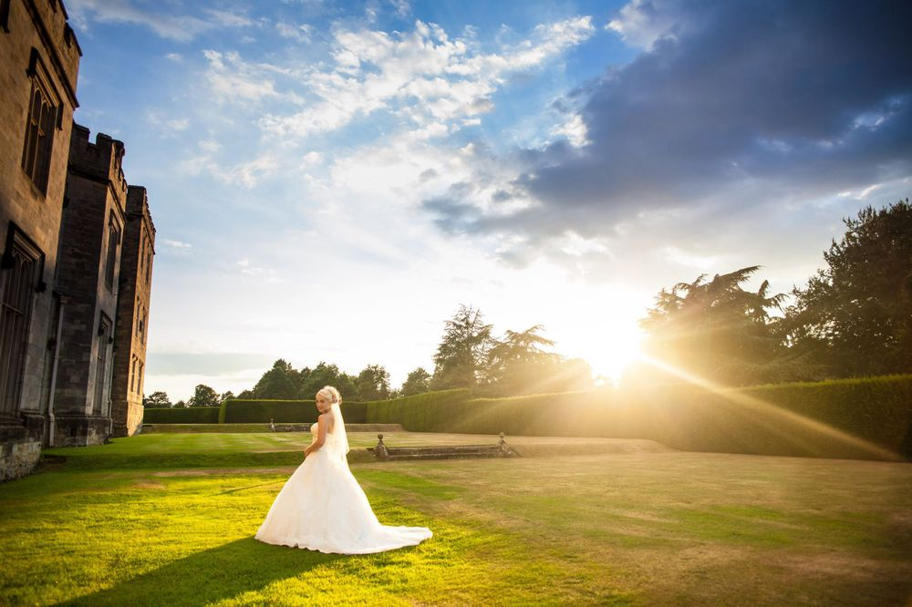 Bride at sunset outside Manor House