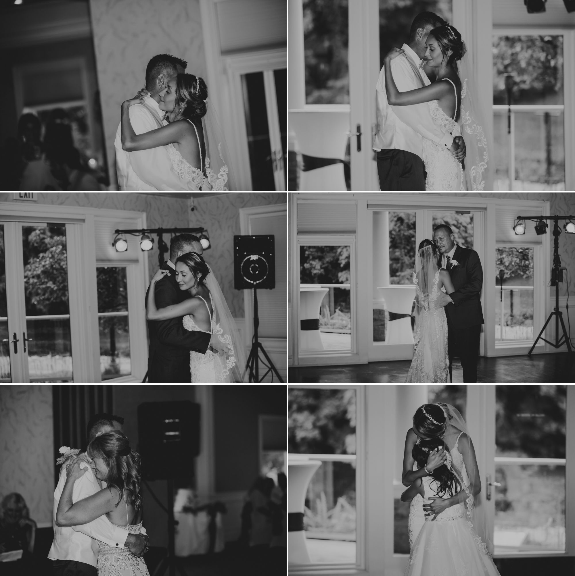 Black and white photo collage of the special dances at the wedding reception.