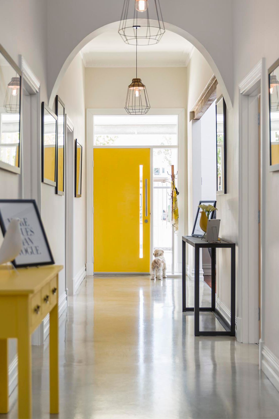 Yellow entrance doorway brings colour to this clean refurbishment in Leederville