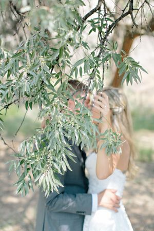 bride and groom kissing behind olive branch