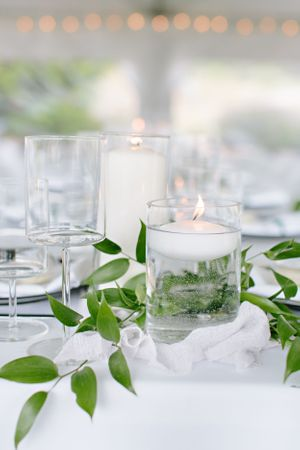 greenery and candles at reception