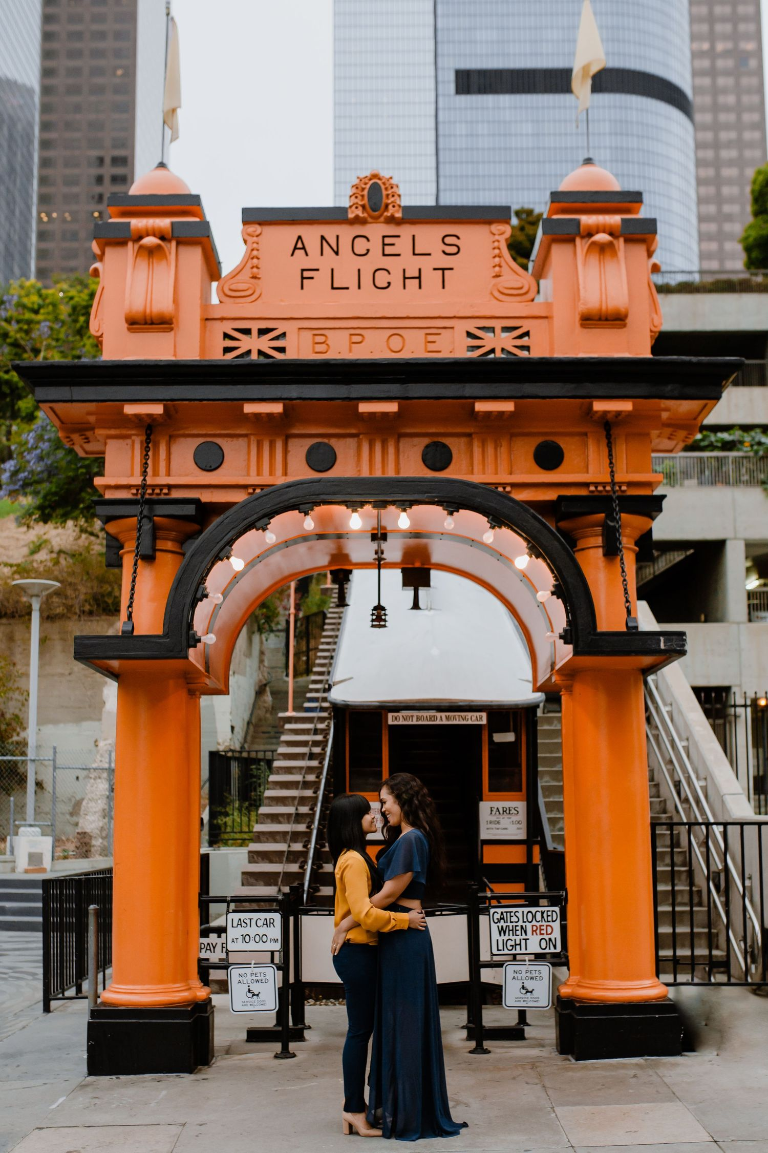 Edith Hogan Photography Angels Flight DTLA Engagement