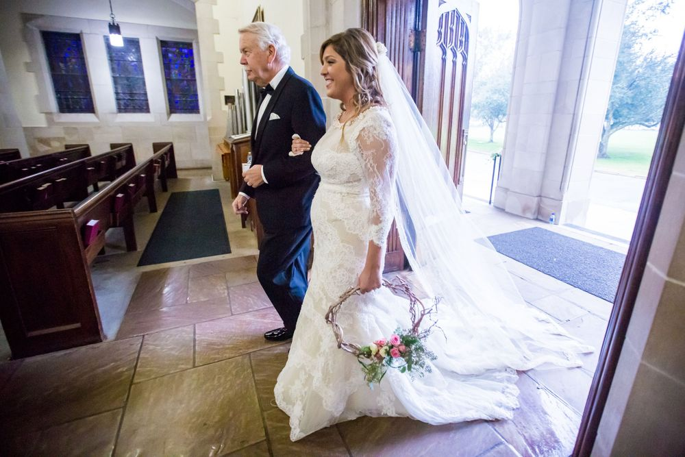 Alissa is walked down the aisle by her father during her wedding The Citadel's Summerall Chapel in Charleston, SC