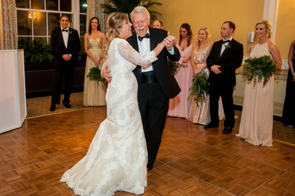 Alissa has her father-daughter dance during her wedding reception at Francis Marion Hotel in Charleston, SC