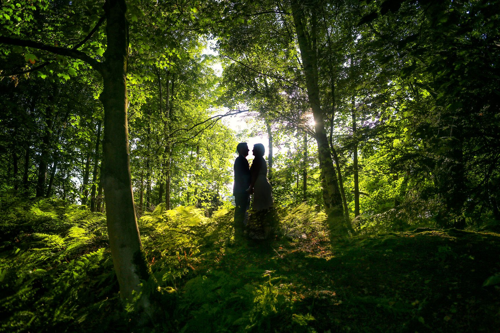 Peckforton Castle wedding phootgraphy silhouette of bride and groom in the woods during Summer