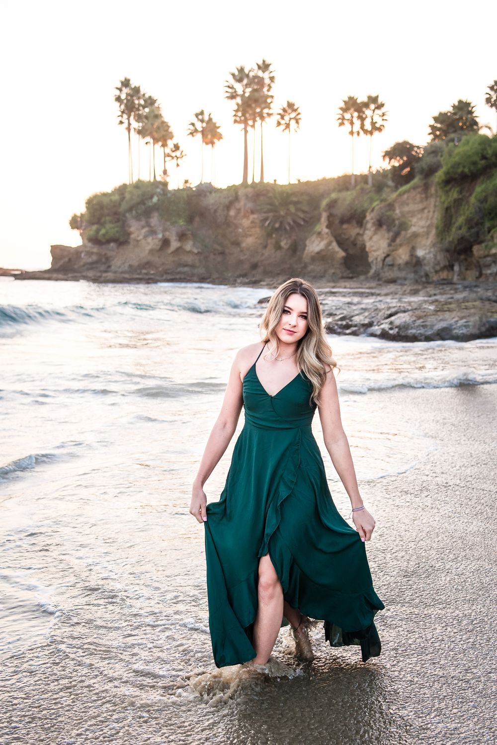 Image of a high school senior girl on the beach in Laguna Beach, CA