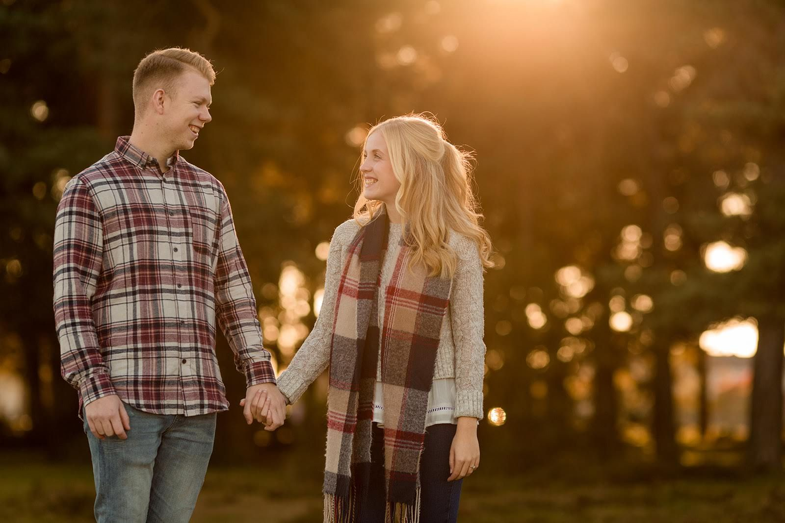golden hour engagement photos new forest