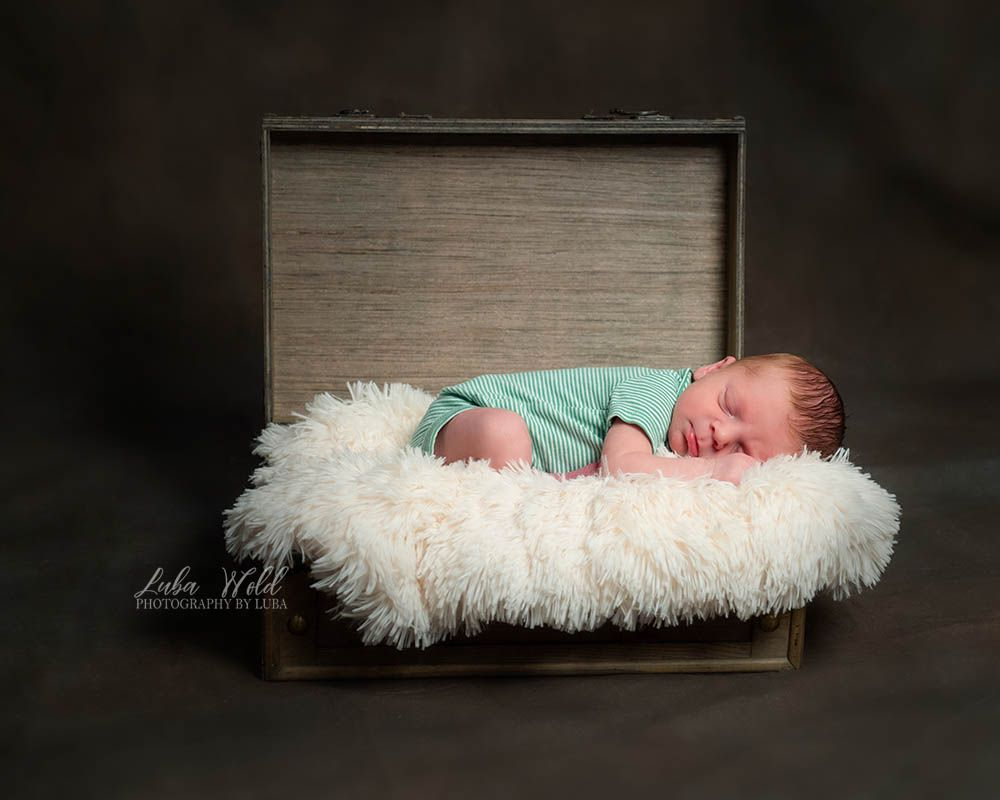spokane newborn baby boy sleeping in a suitcase photographer luba wold teal and white color