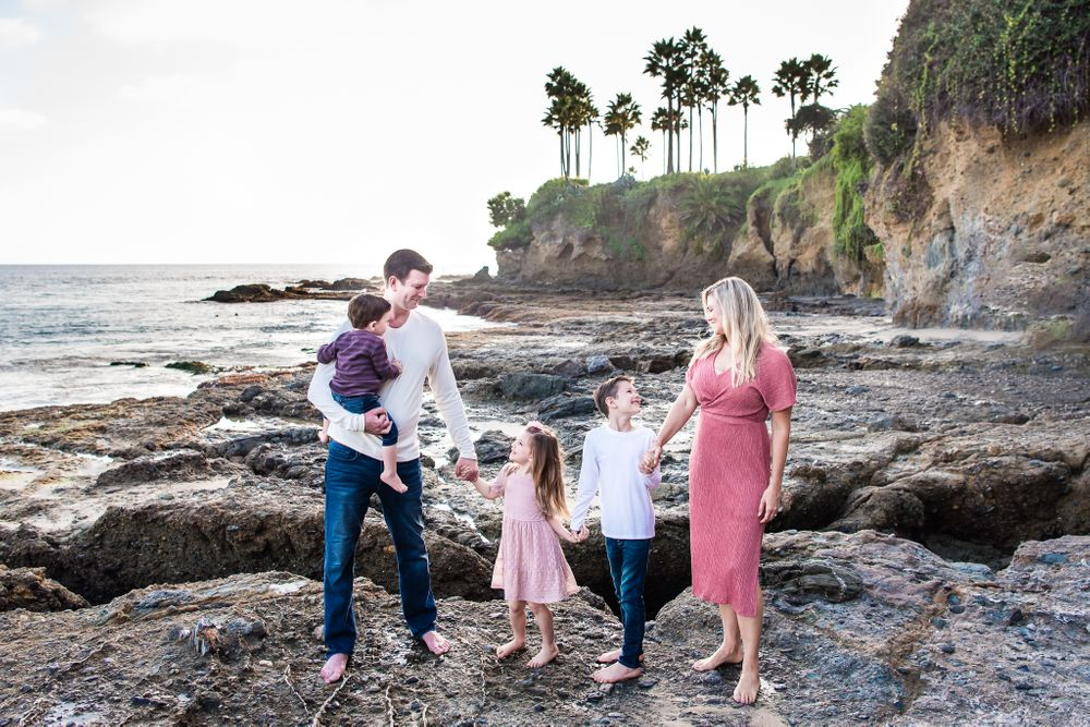 Image of a family on the beach in Laguna Beach, CA