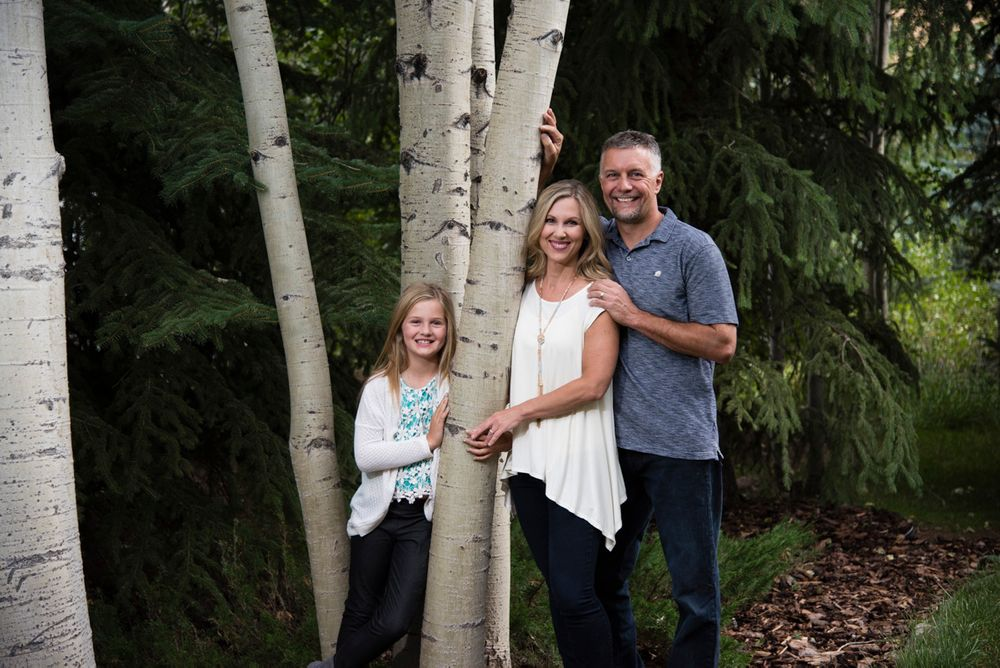 Family of three (tween daughter) in the aspens