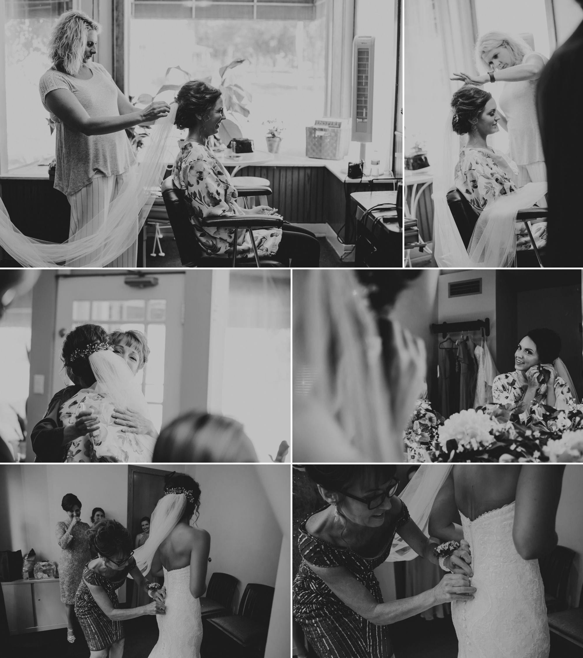 Black and white collage of the bride getting ready.