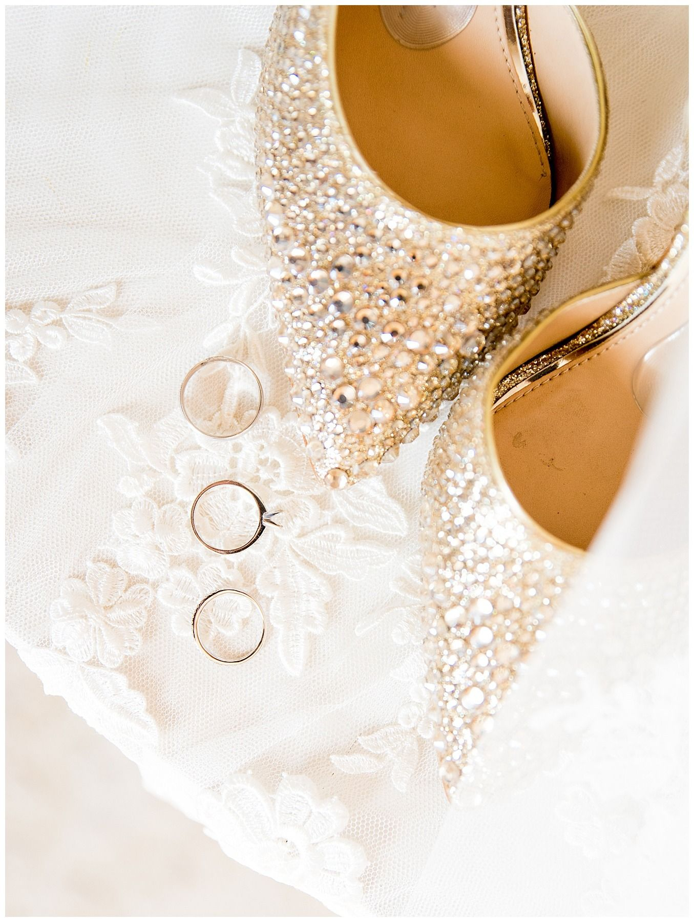 diamond bedazzled shoes and wedding rings for Chicago winter wedding