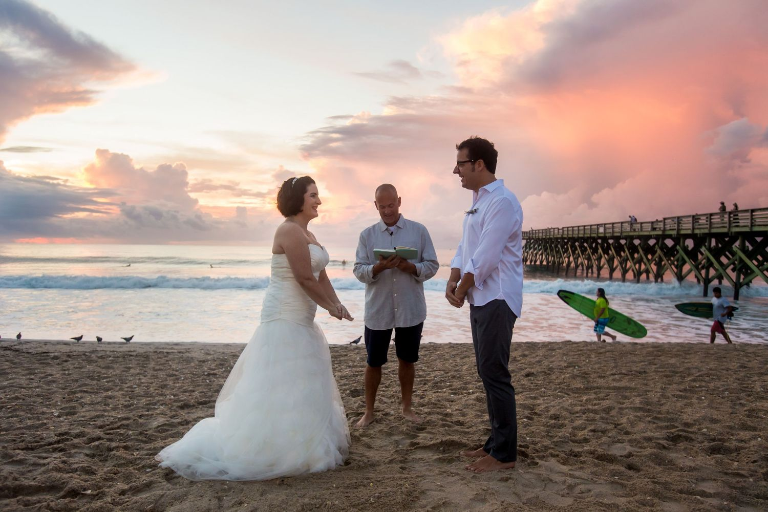 Sunrise wedding on Wrightsville Beach, NC, by Columbia, SC, Wedding Photographer Jeff Blake